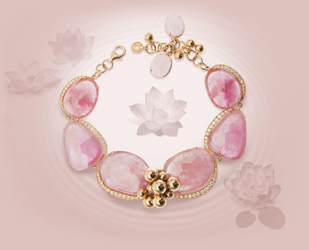 Bracciale zaffiri taglio rosetta, oro rosa 18 kt, diamanti