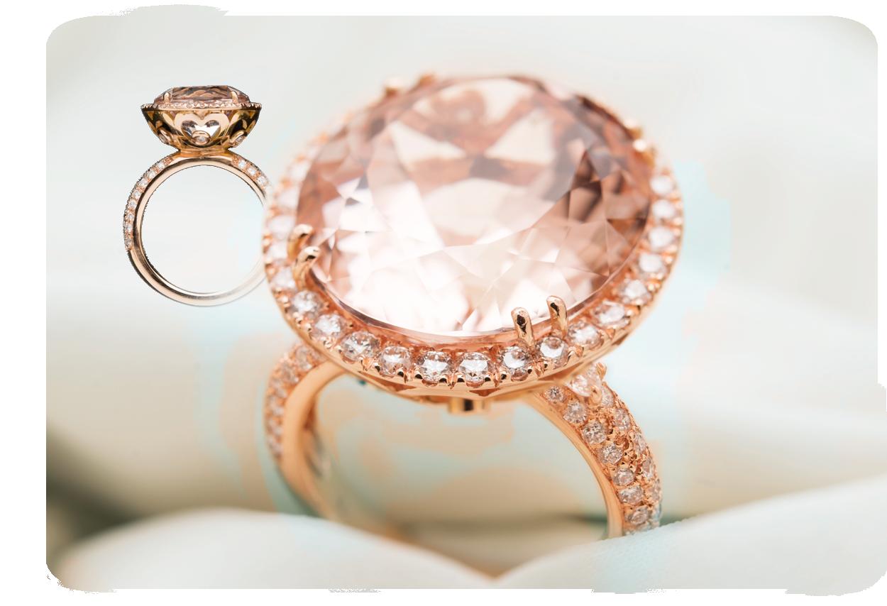 anello morganite ovale